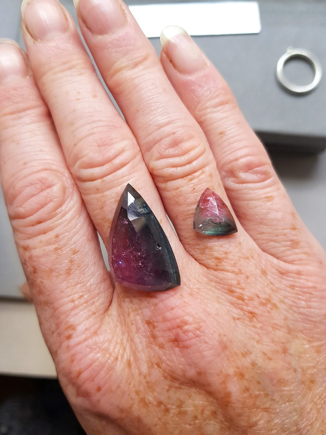 Bi-colour tourmaline stone available for commission