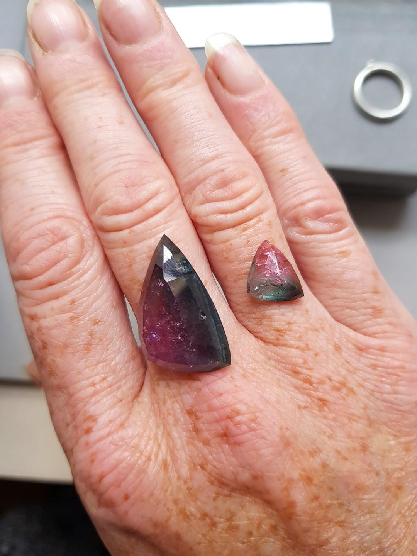 Bi-colour tourmaline stone available for commission