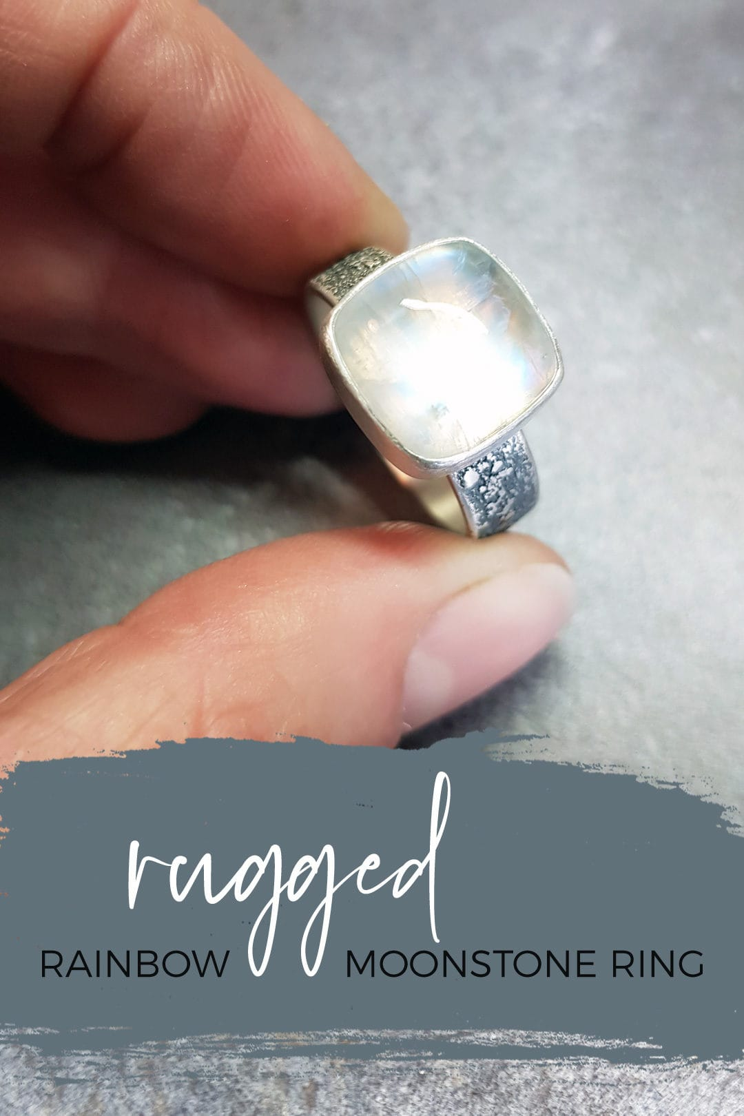 Rugged Rainbow Moonstone ring in textured sterling silver