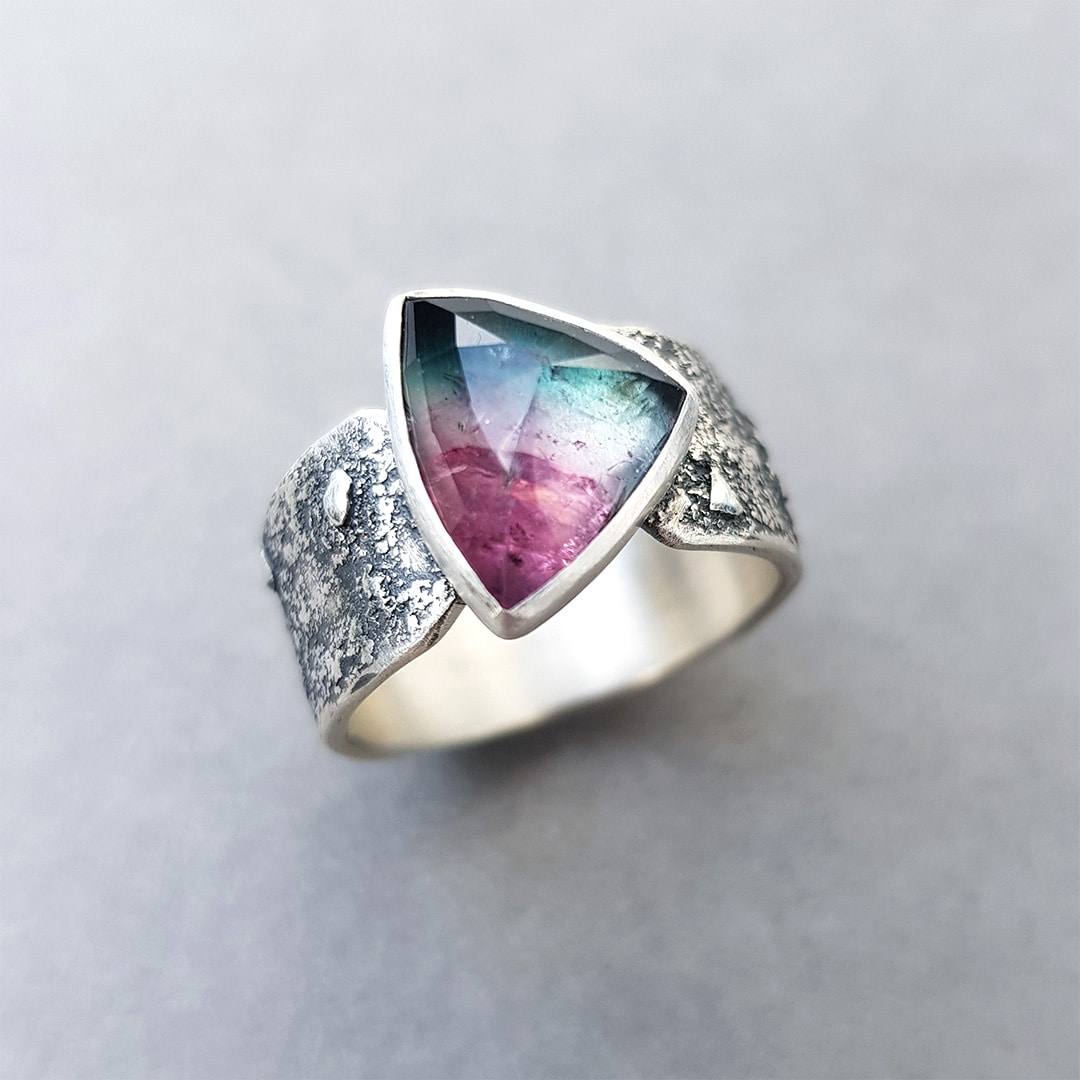 Watermelon tourmaline ring in textured sterling silver