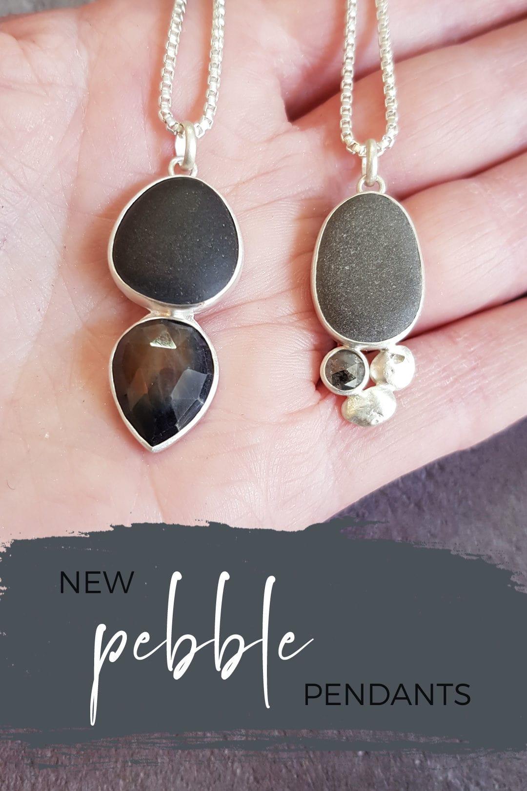 Handmade pendants with beach pebble. diamond and sapphire
