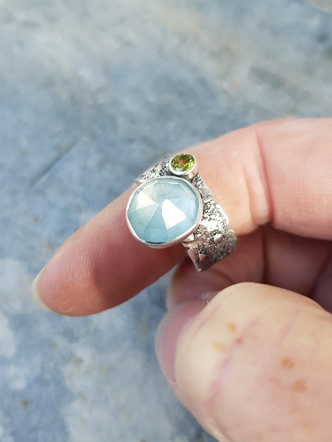 Handmade ring commission in sterling silver and aquamarine