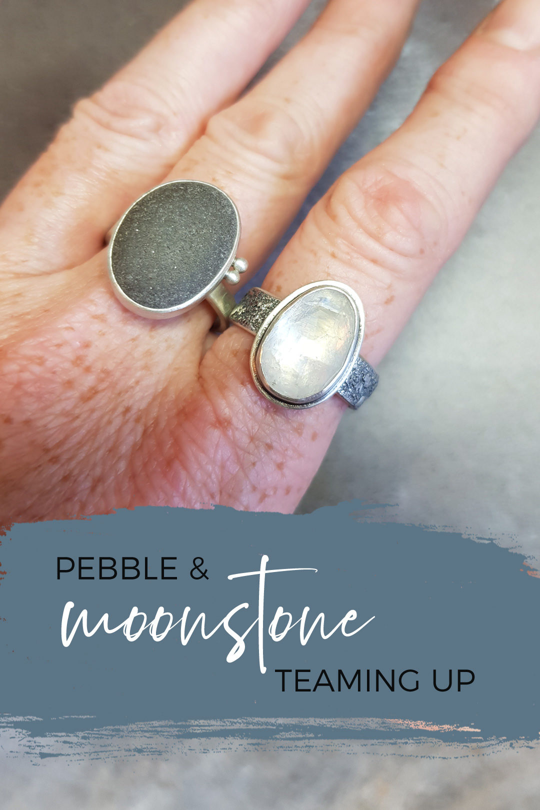 Rainbow moonstone rugged ring and pebble ring