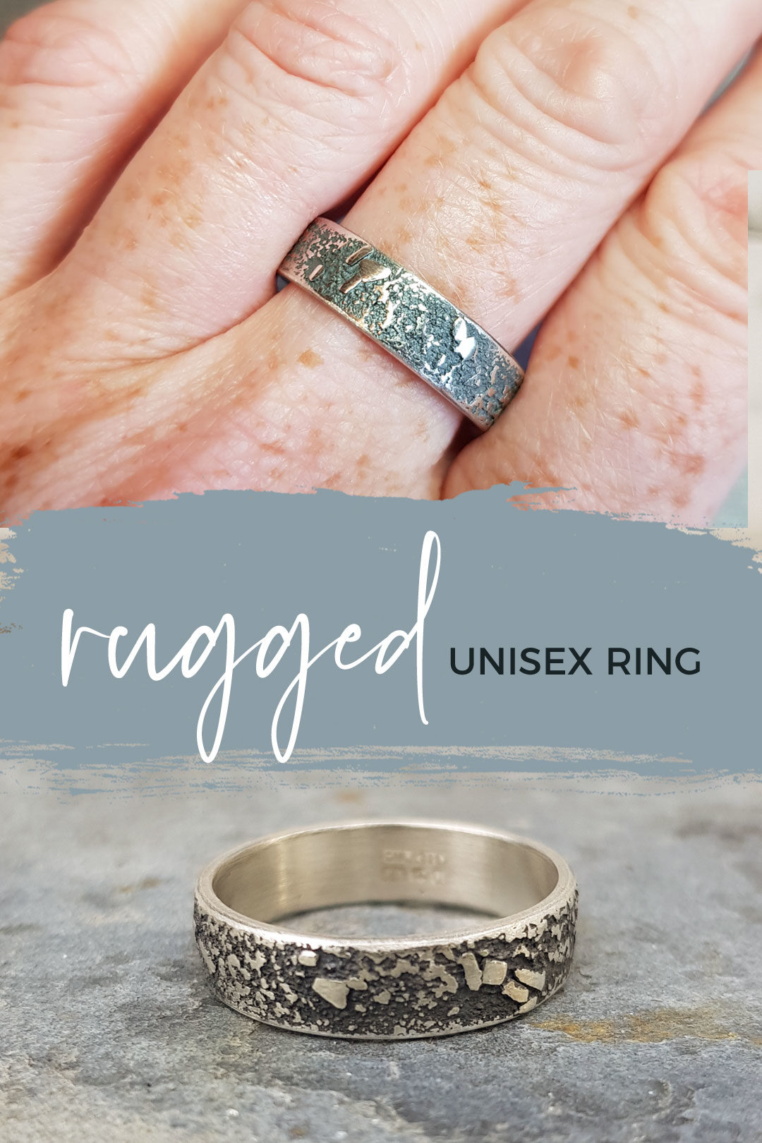 Unisex ring in textured sterling silver