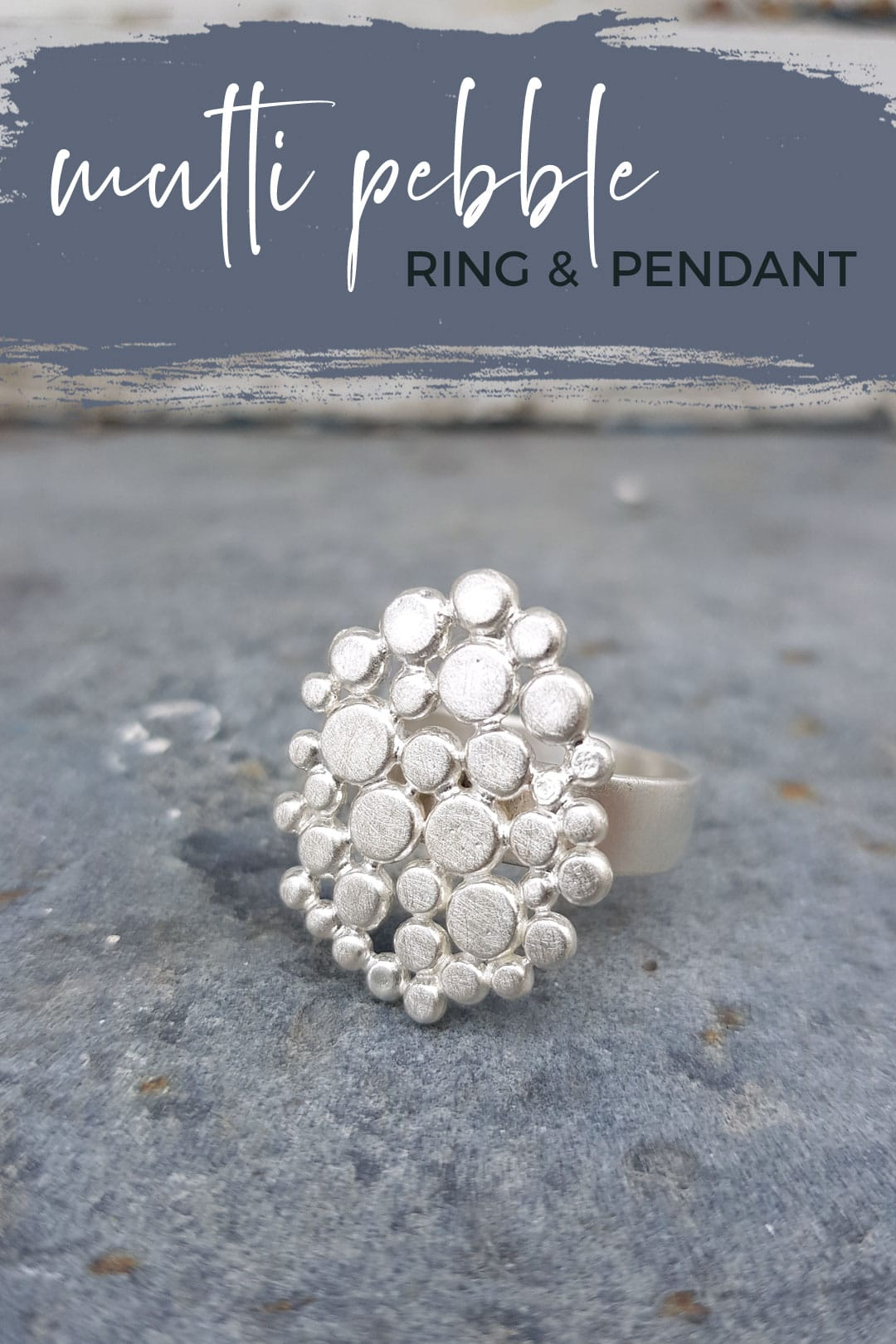 Multi pebble ring in brushed silver