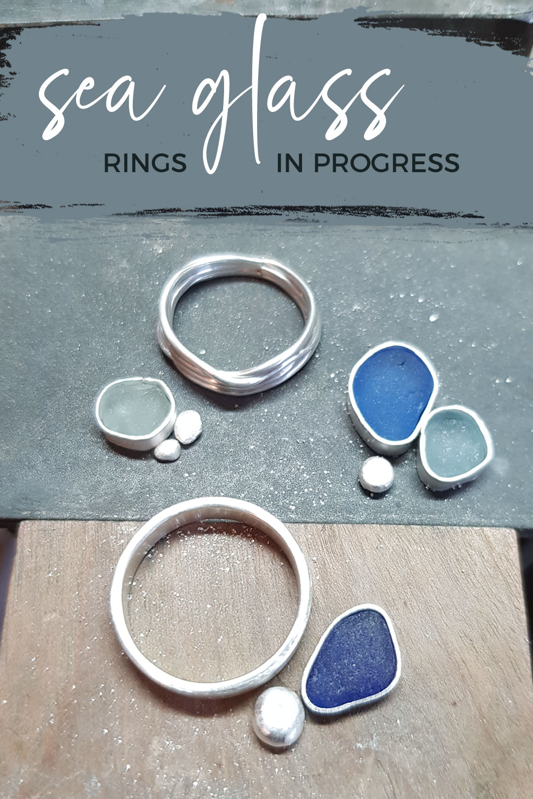 Sea glass ring commission in progress