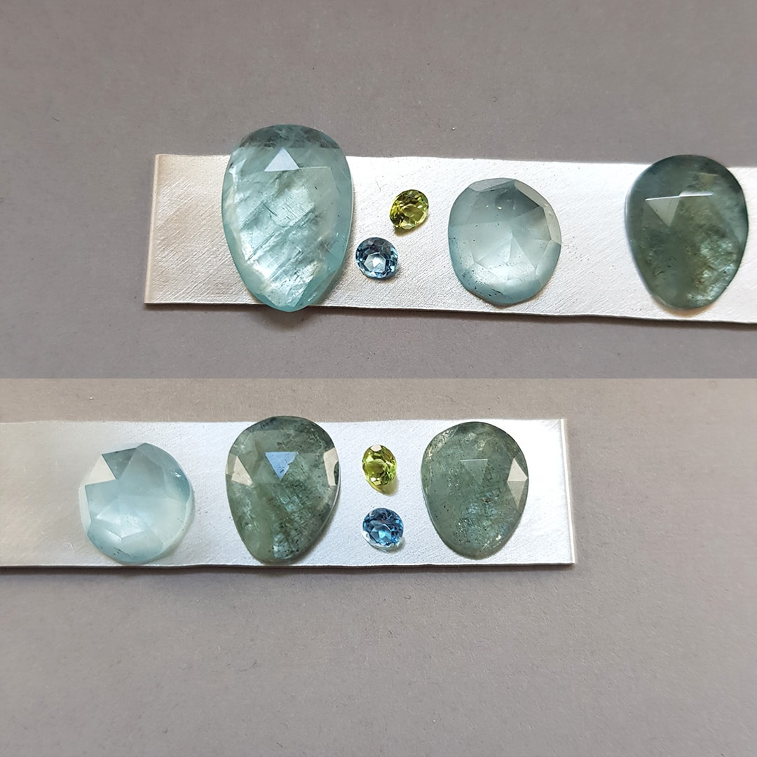 aquamarine stone selection, accent stone