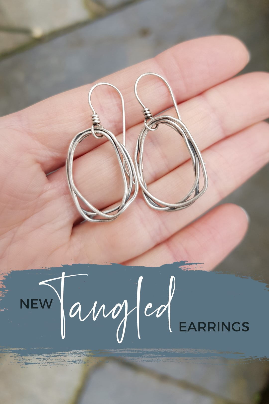Tangled silver earrings