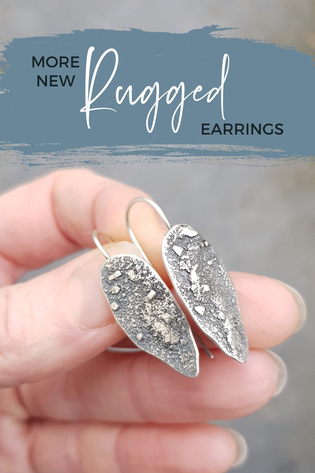 New Rugged textured silver earrings with fixed hooks