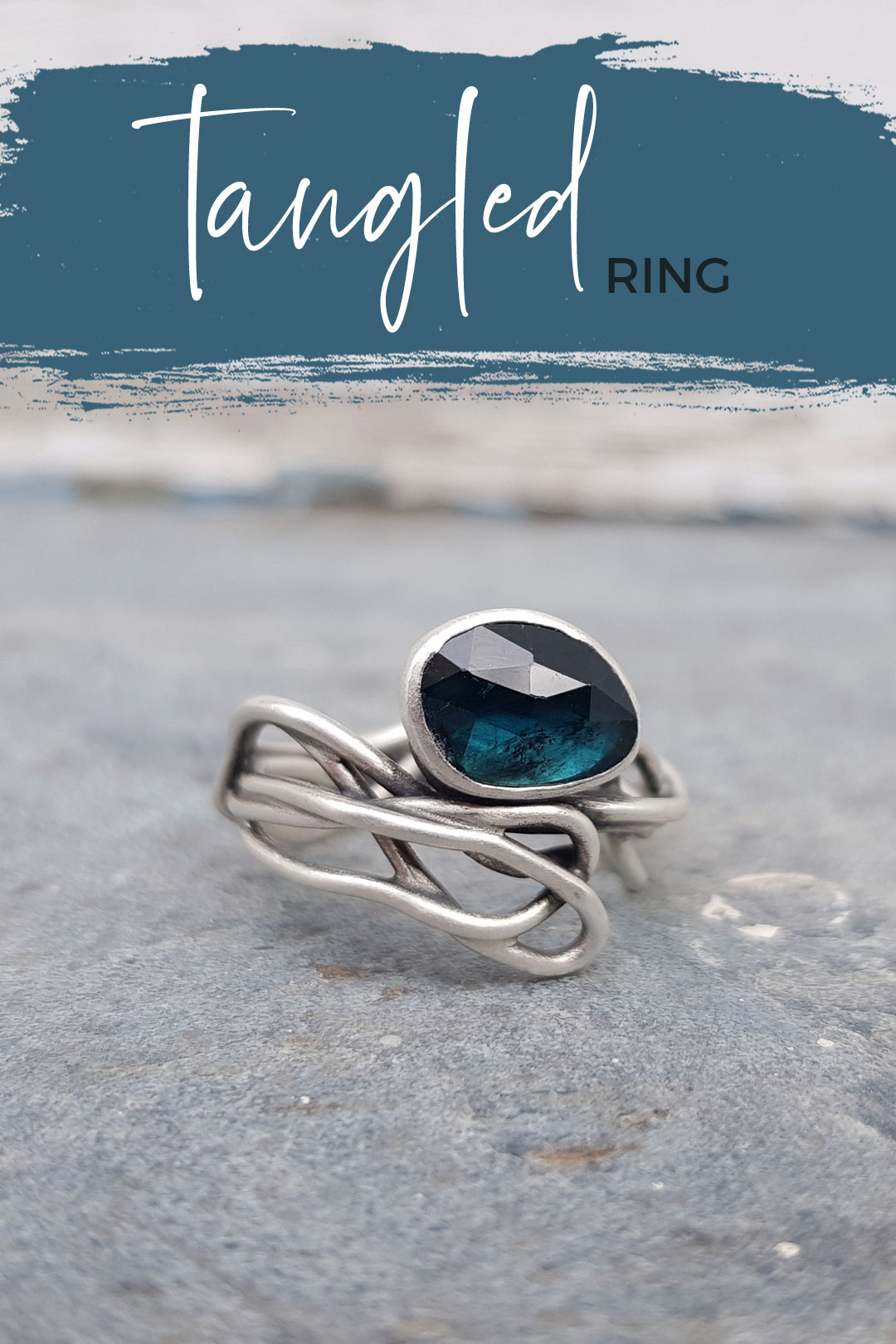 Blue tourmaline and silver ring