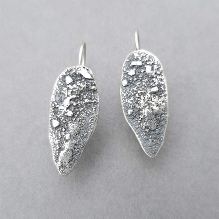 Textured silver drop earrings with fixed ear hooks