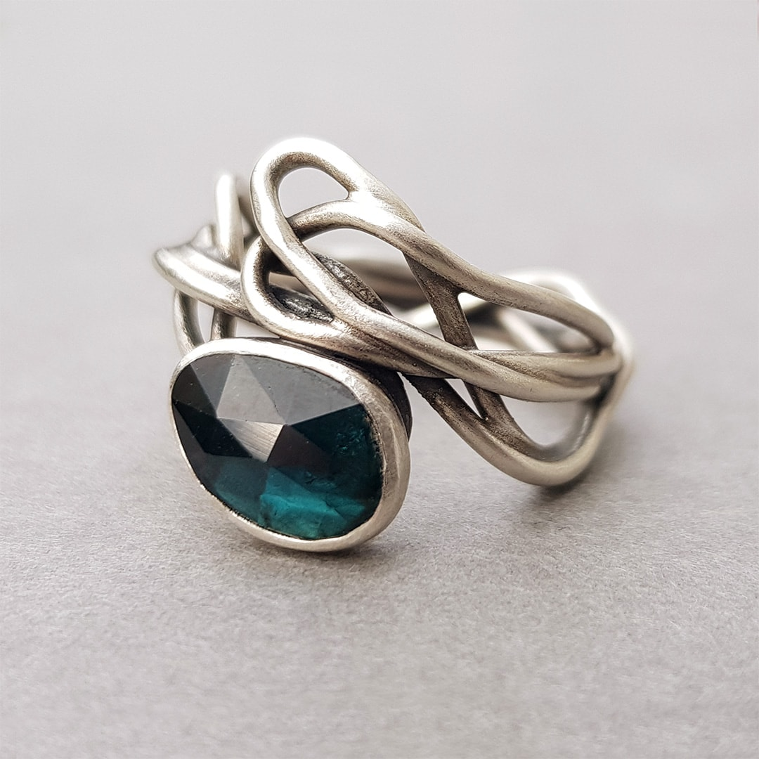 Sterling silver and blue tourmaline ring