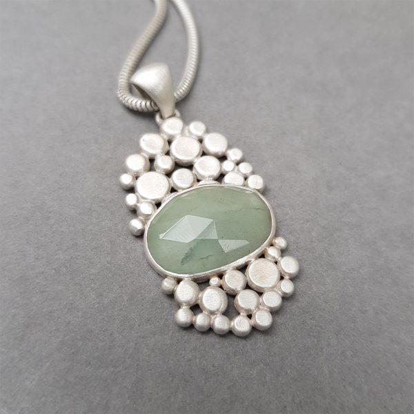 Aquamarine multi pebble pendant in brushed silver