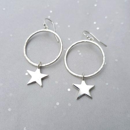 Star struck hoop earrings