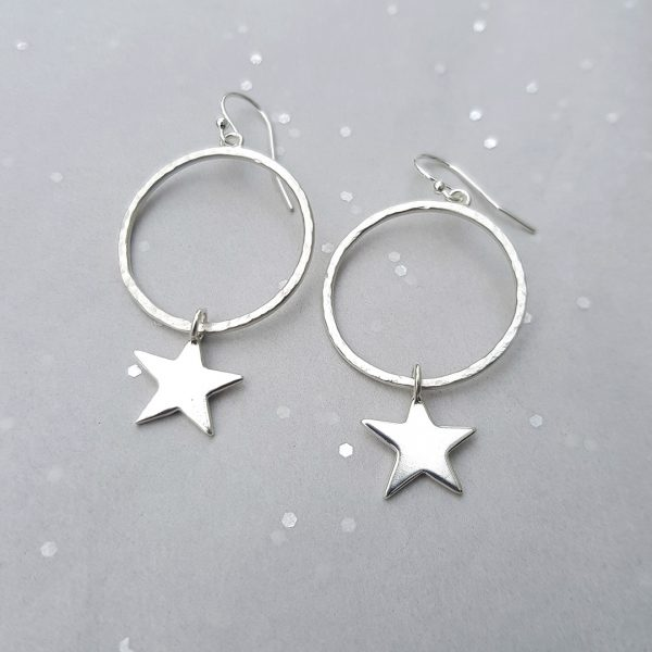 Star struck hoop earrings