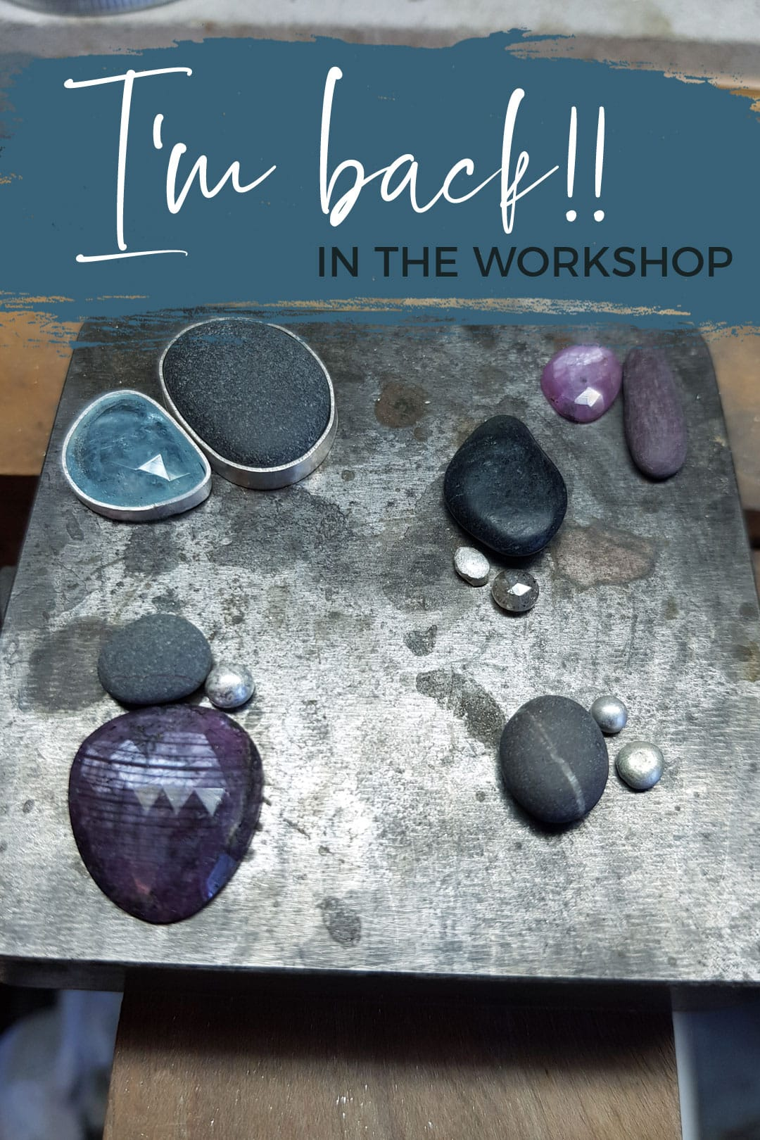 Back at the bench making pebble jewellery