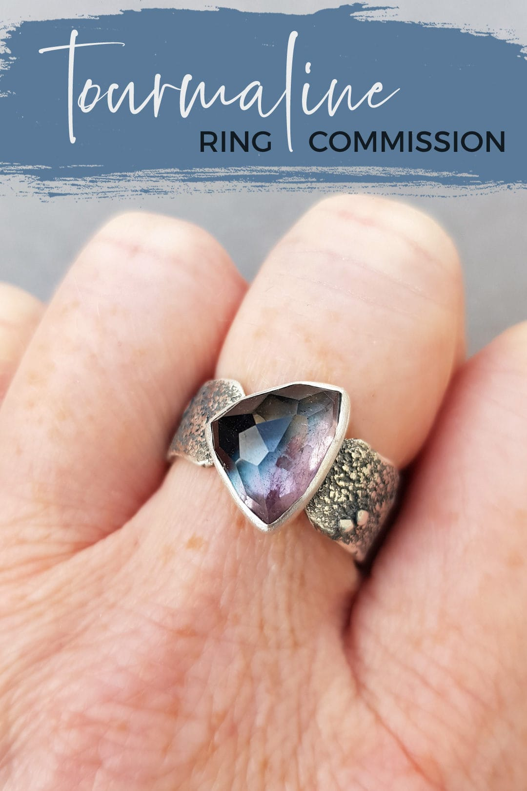 Bi-colour tourmaline ring commission in textured sterling silver