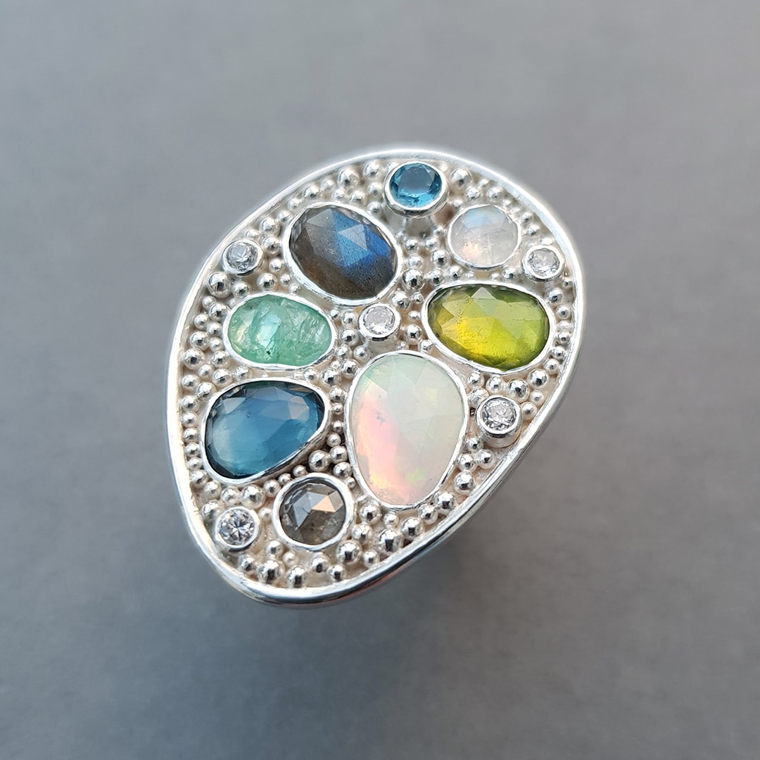 Handmade one of a kind statement ring with gemstones, diamond and sterling silver granulation