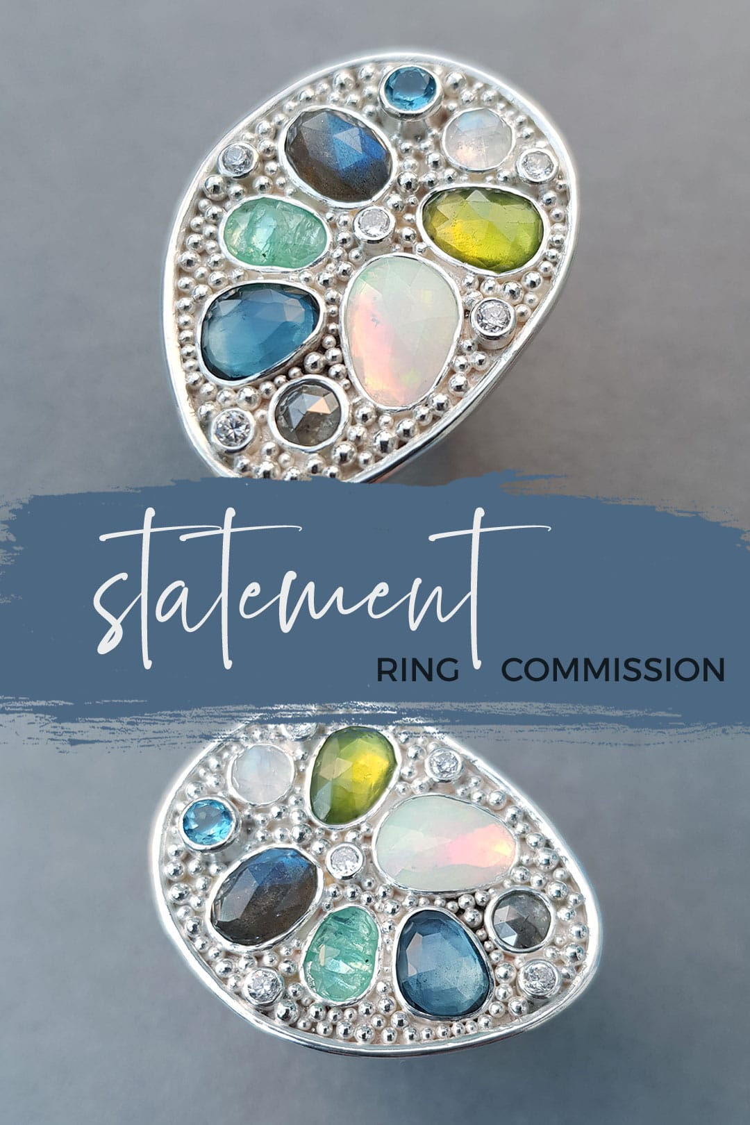 Statement ring in silver and gemstones