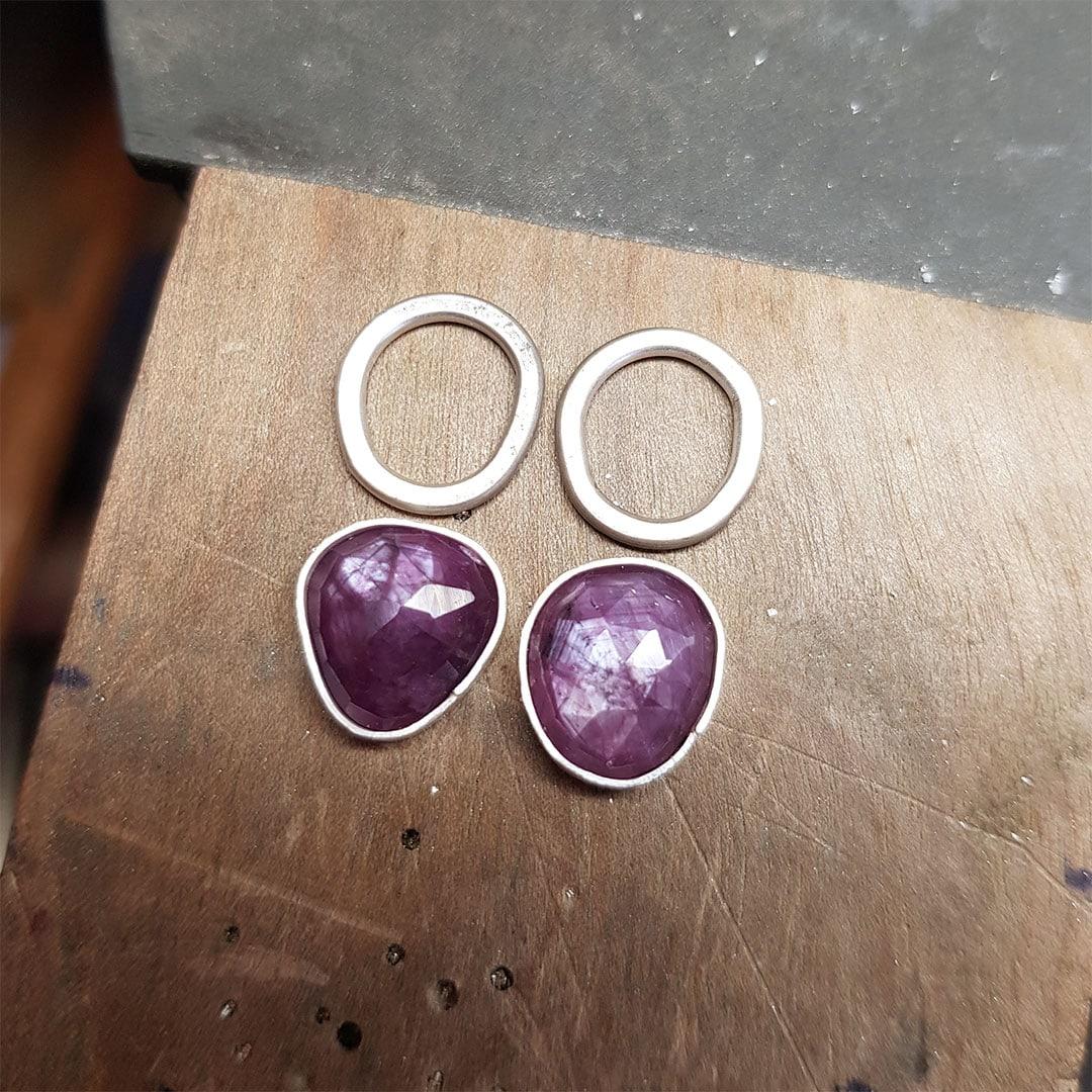 Pink sapphire earrings in progress