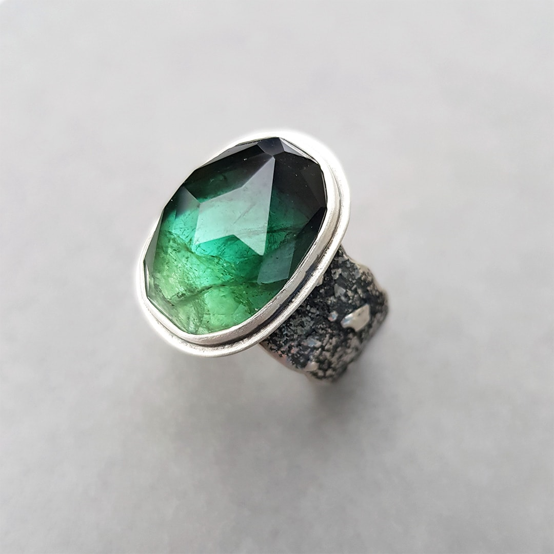 Sterling silver ring commission with green faceted Tourmaline