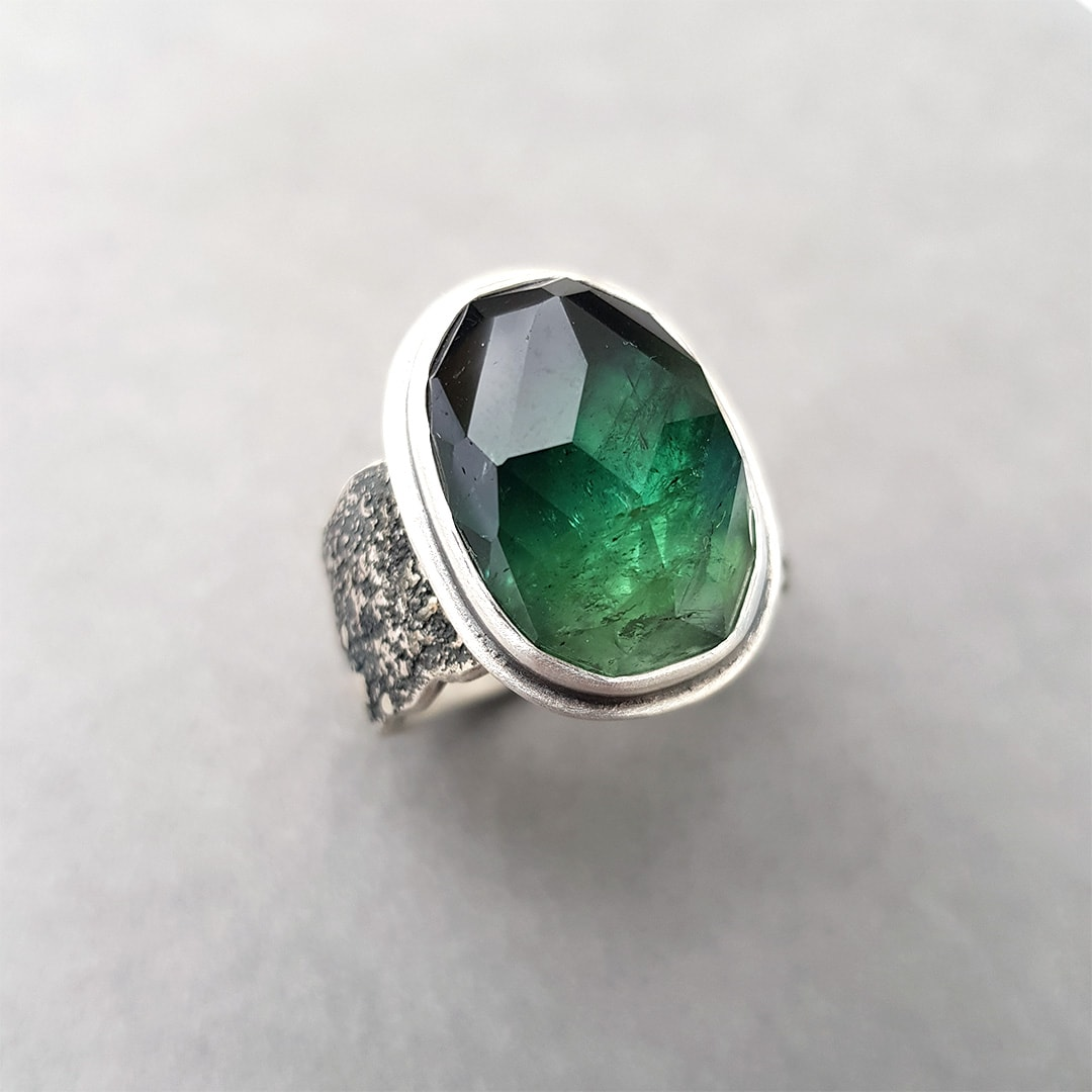 Green tourmaline custom made ring in sterling silver