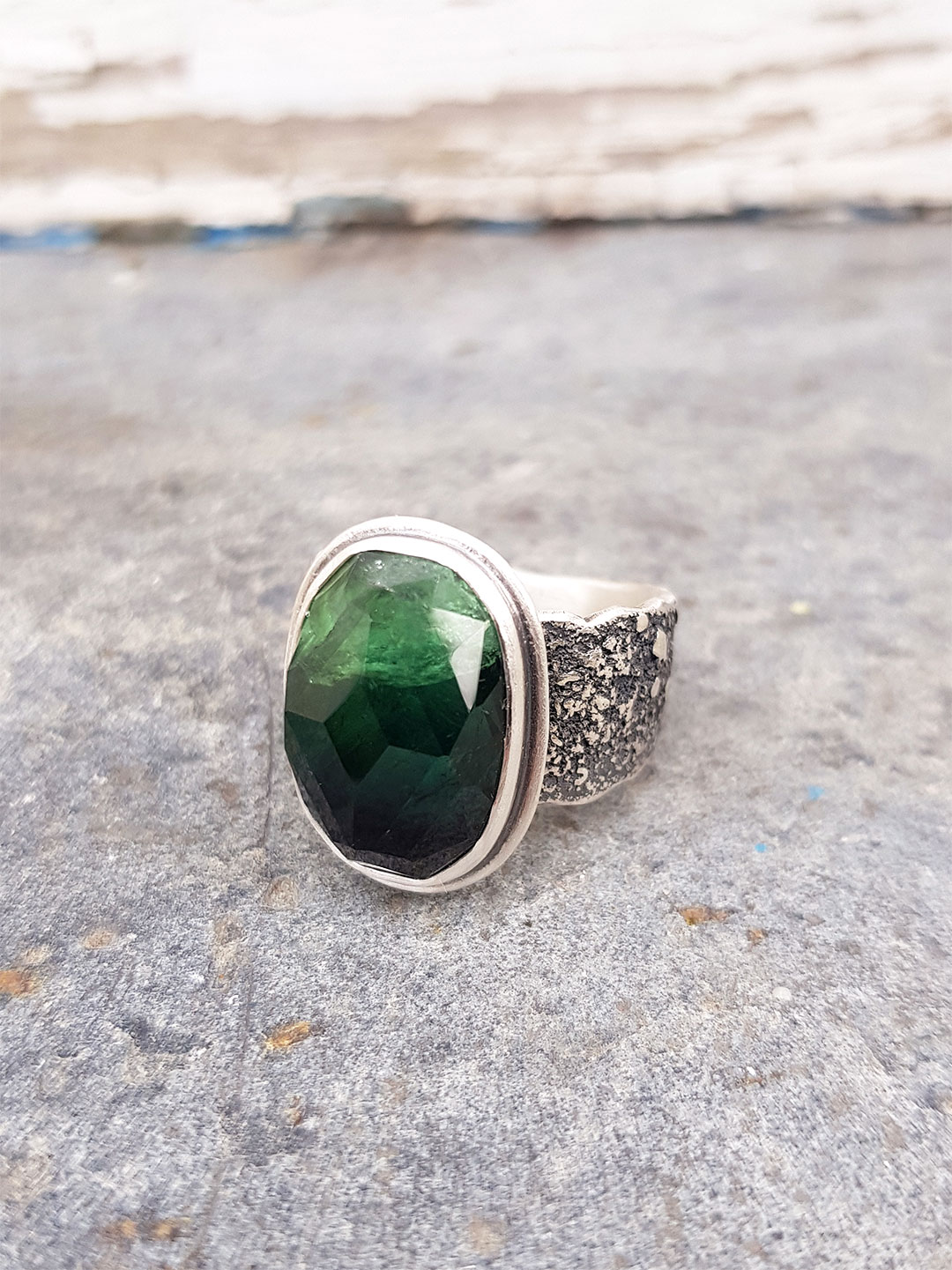 Handmade ring in sterling silver and green tourmaline