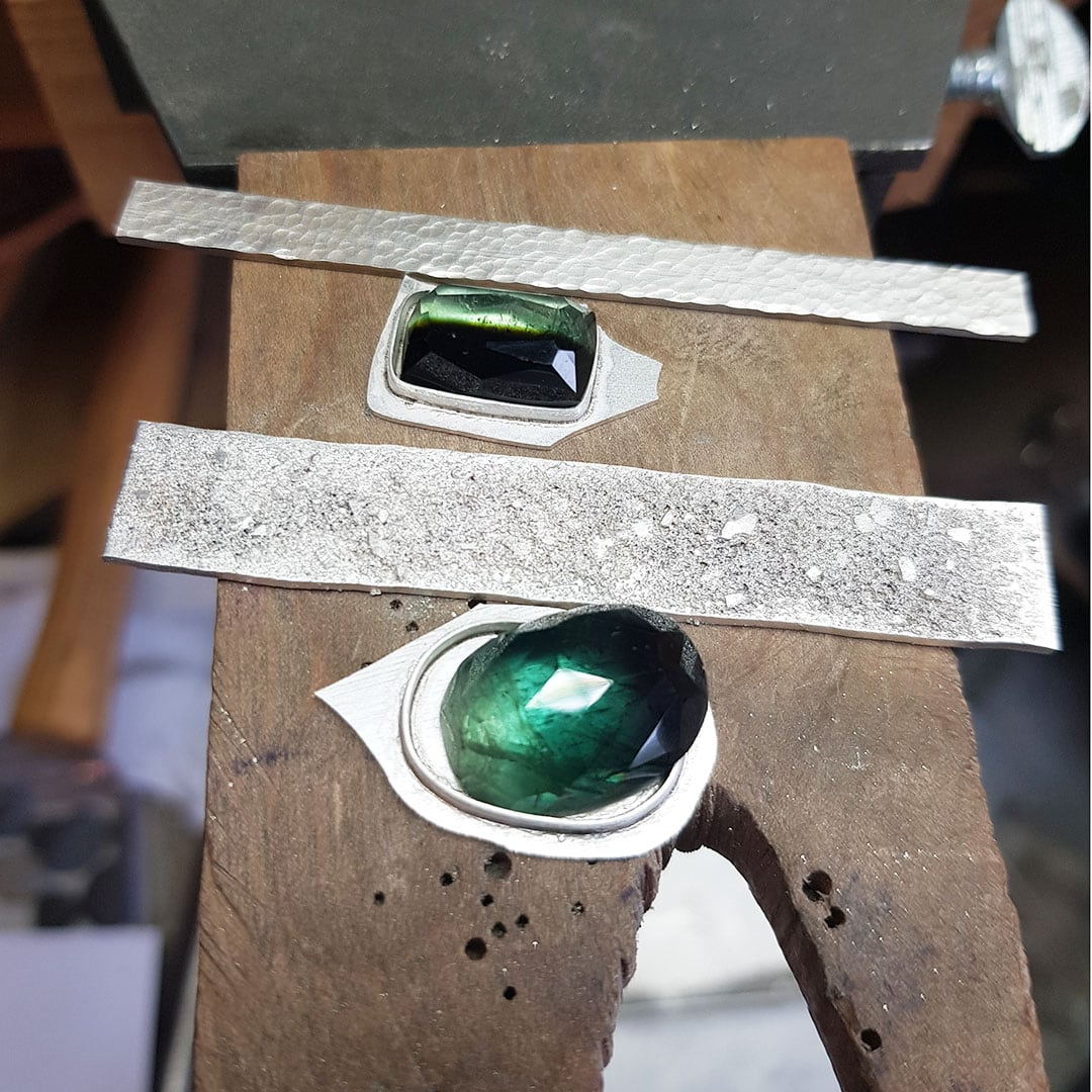 Bespoke green tourmaline rings in progress