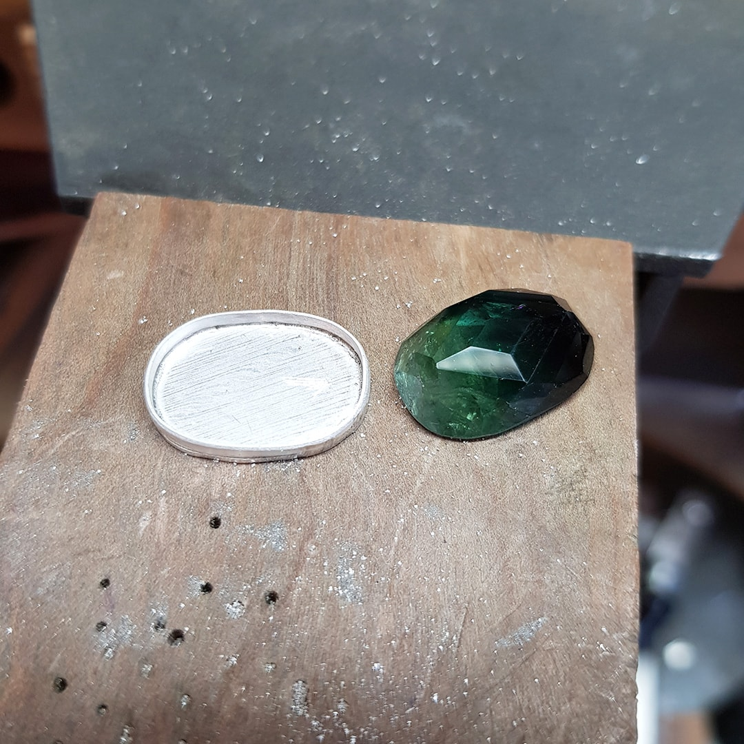 Making a bezel setting for a custom green tourmaline ring