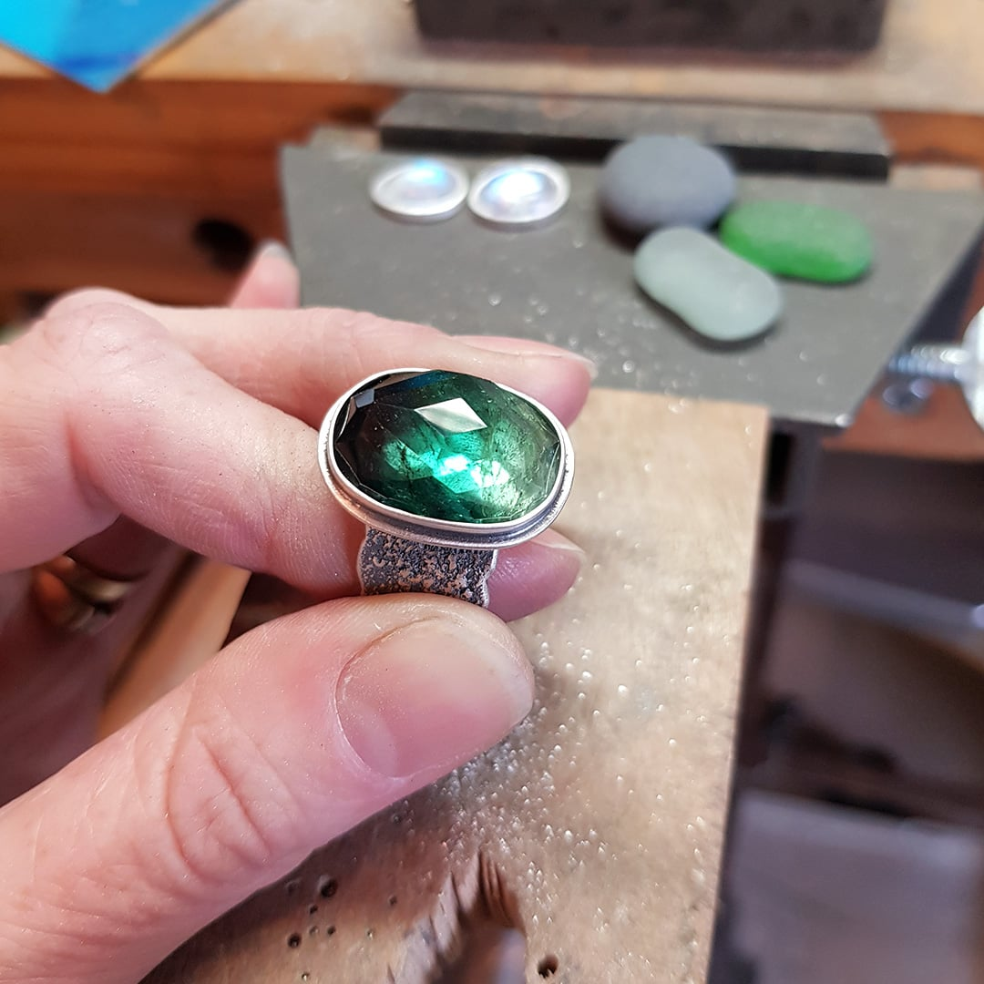 Green tourmaline ring ready for stone setting