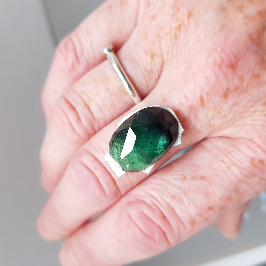 Designing a ring commission in sterling silver and green Tourmaline