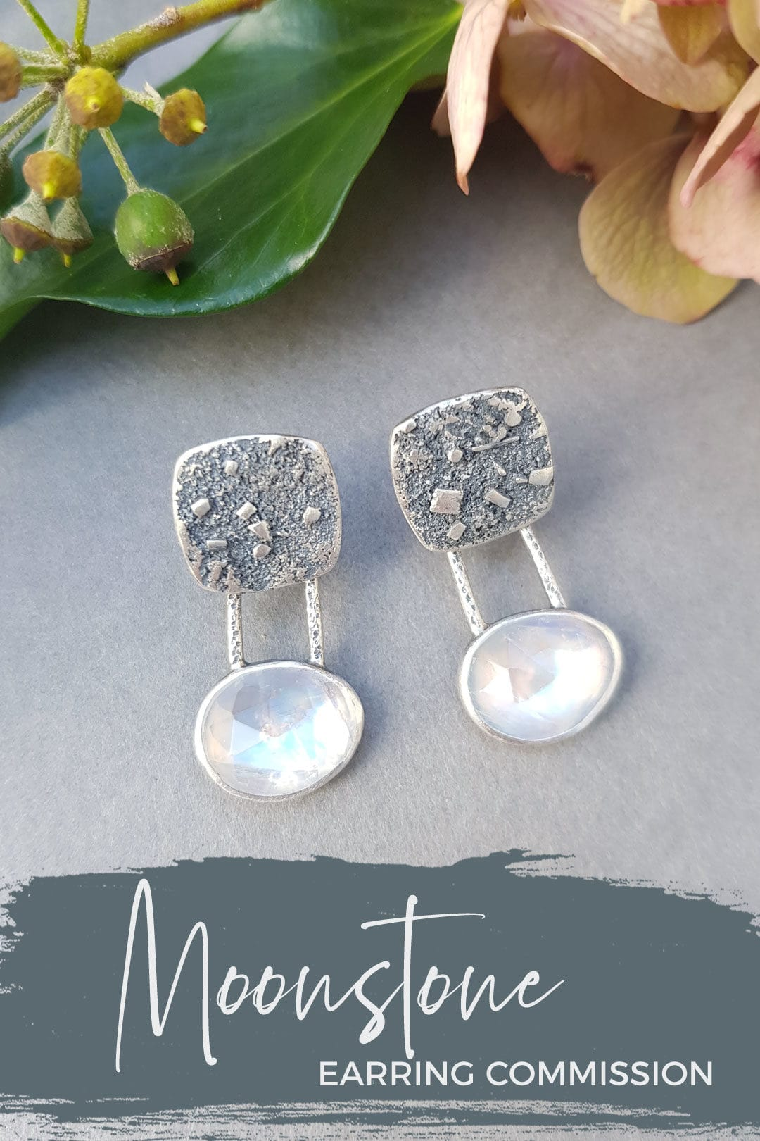 Rainbow Moonstone stud earring commission