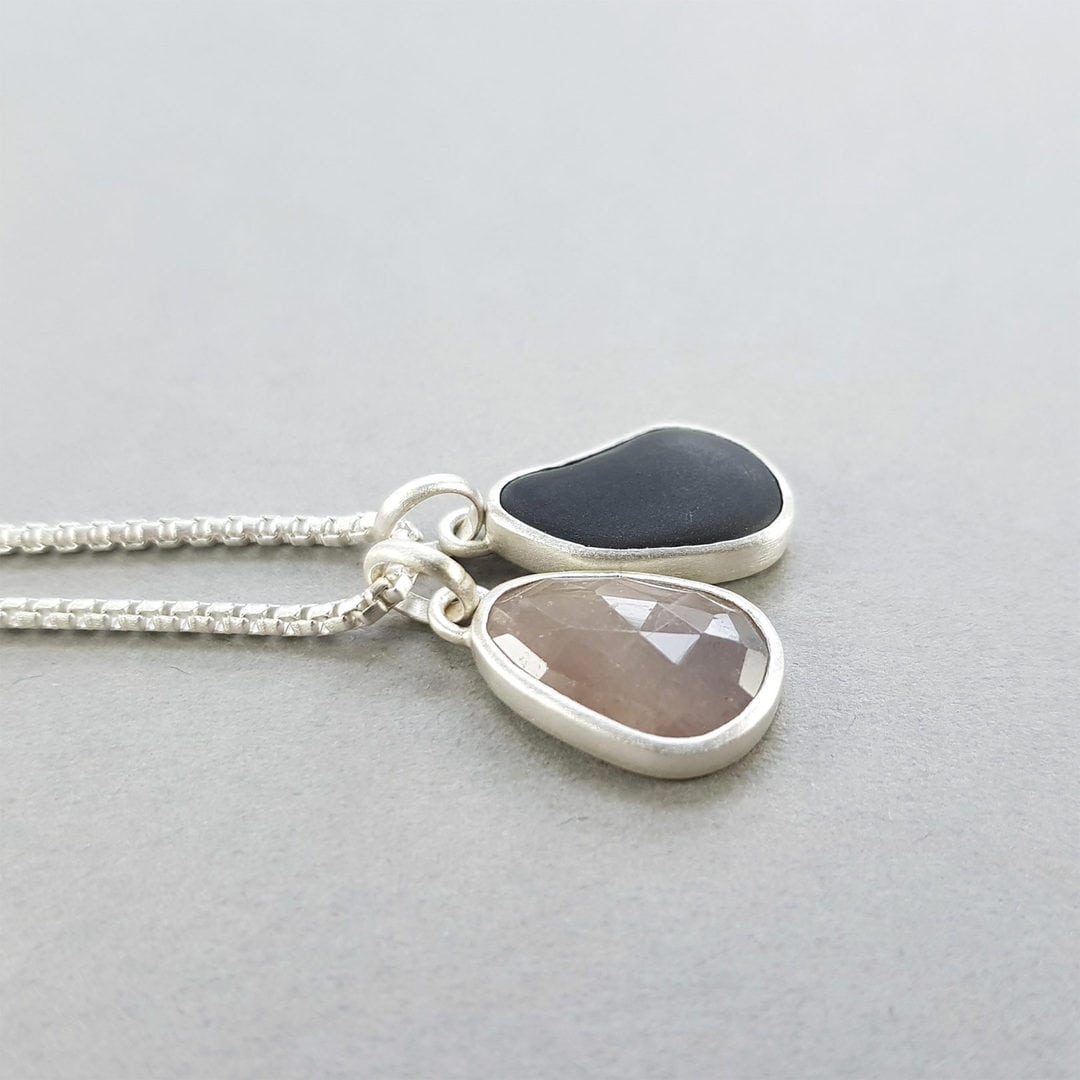 Sapphire and beach pebble pendant duo