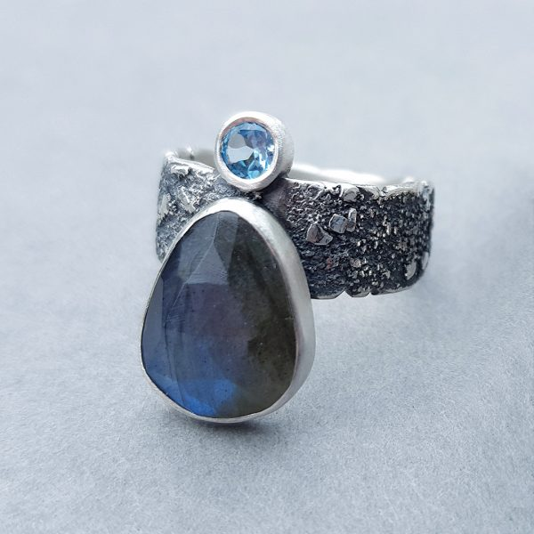 Labradorite and Swiss blue topaz ring in textured sterling silver