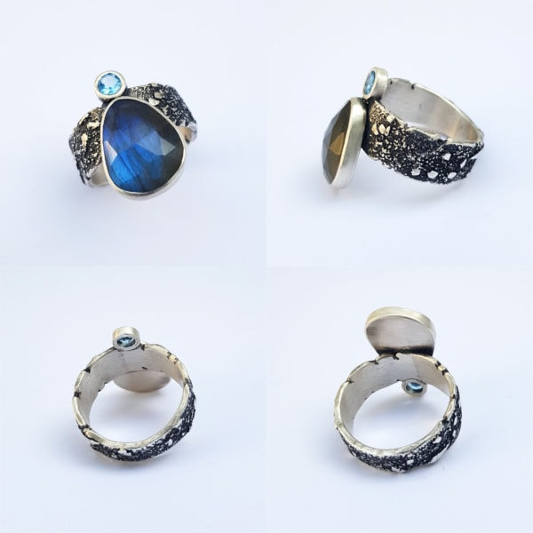 Various angles of Labradorite and Swiss blue topaz ring in textured sterling silver