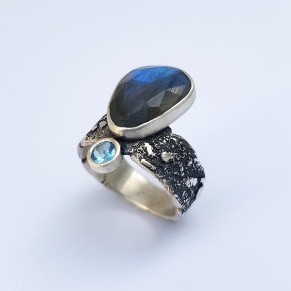 Handmade Labradorite and Swiss blue topaz ring in textured sterling silver