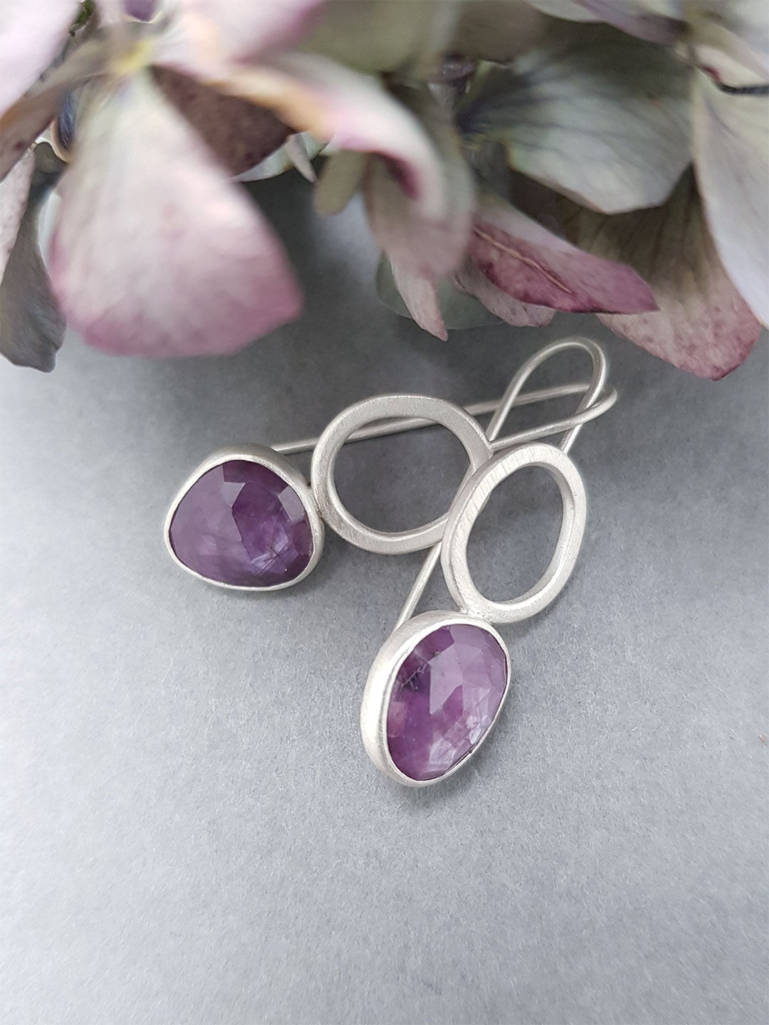 Pink sapphire rock pool earrings in sterling silver
