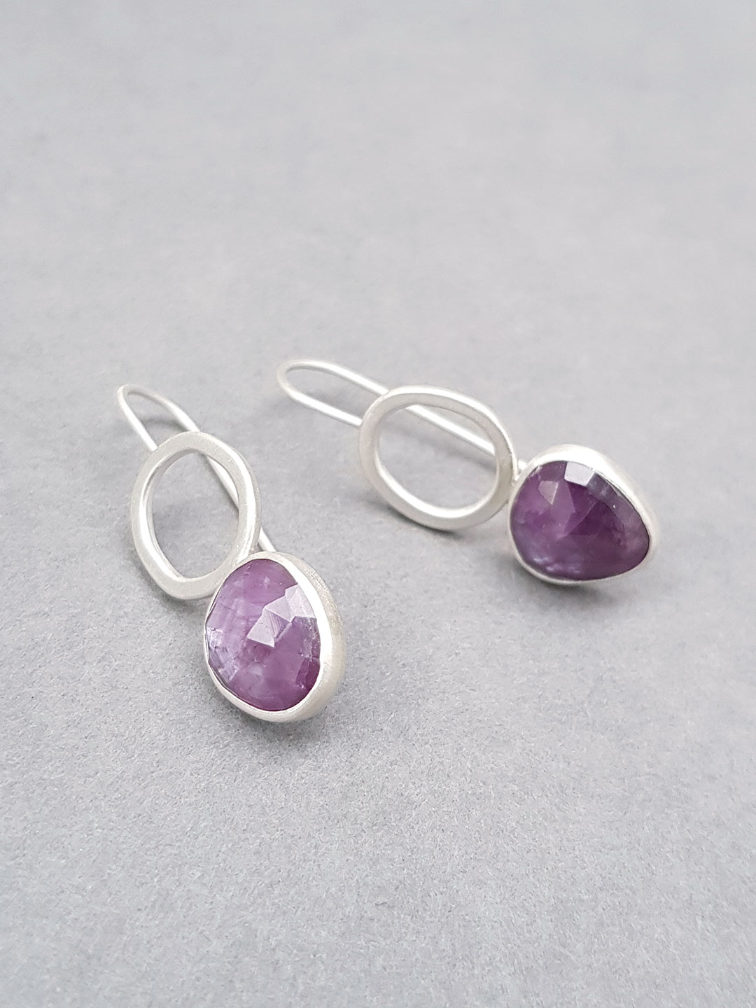 Pink sapphire fixed wire earrings