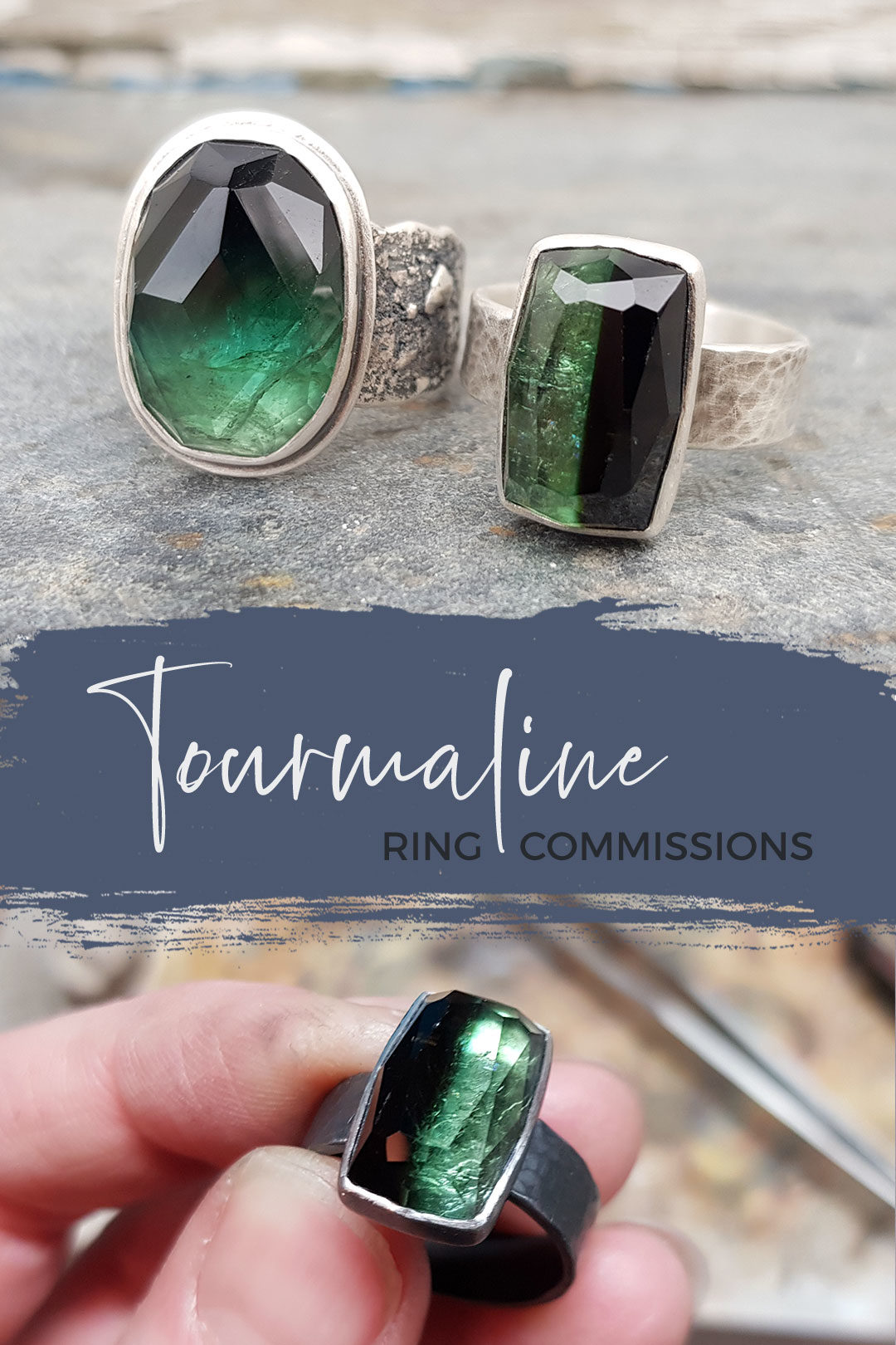 Green tourmaline rings, handmade in Cornwall by Swedish jewellery Carin