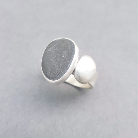 Beach pebble and silver ring in brushed finish