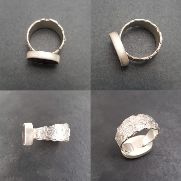 Dendritic ring in silver shown from a few angles