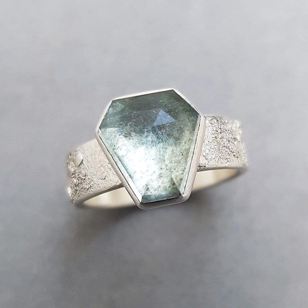 One of a kind moss aquamarine ring, handmade in Cornwall