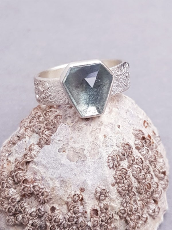 Moss aquamarine ring in textured matte sterling silver