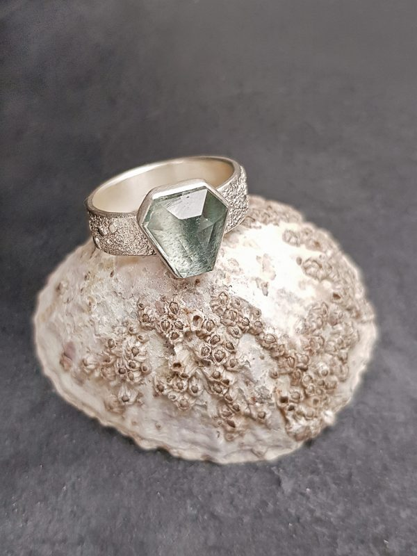 Steel blue aquamarine ring in frosted sterling silver