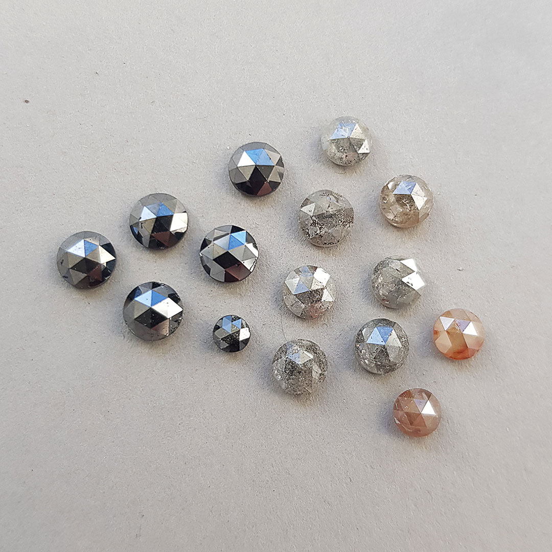 Black, grey and brown rose cut diamonds in stock