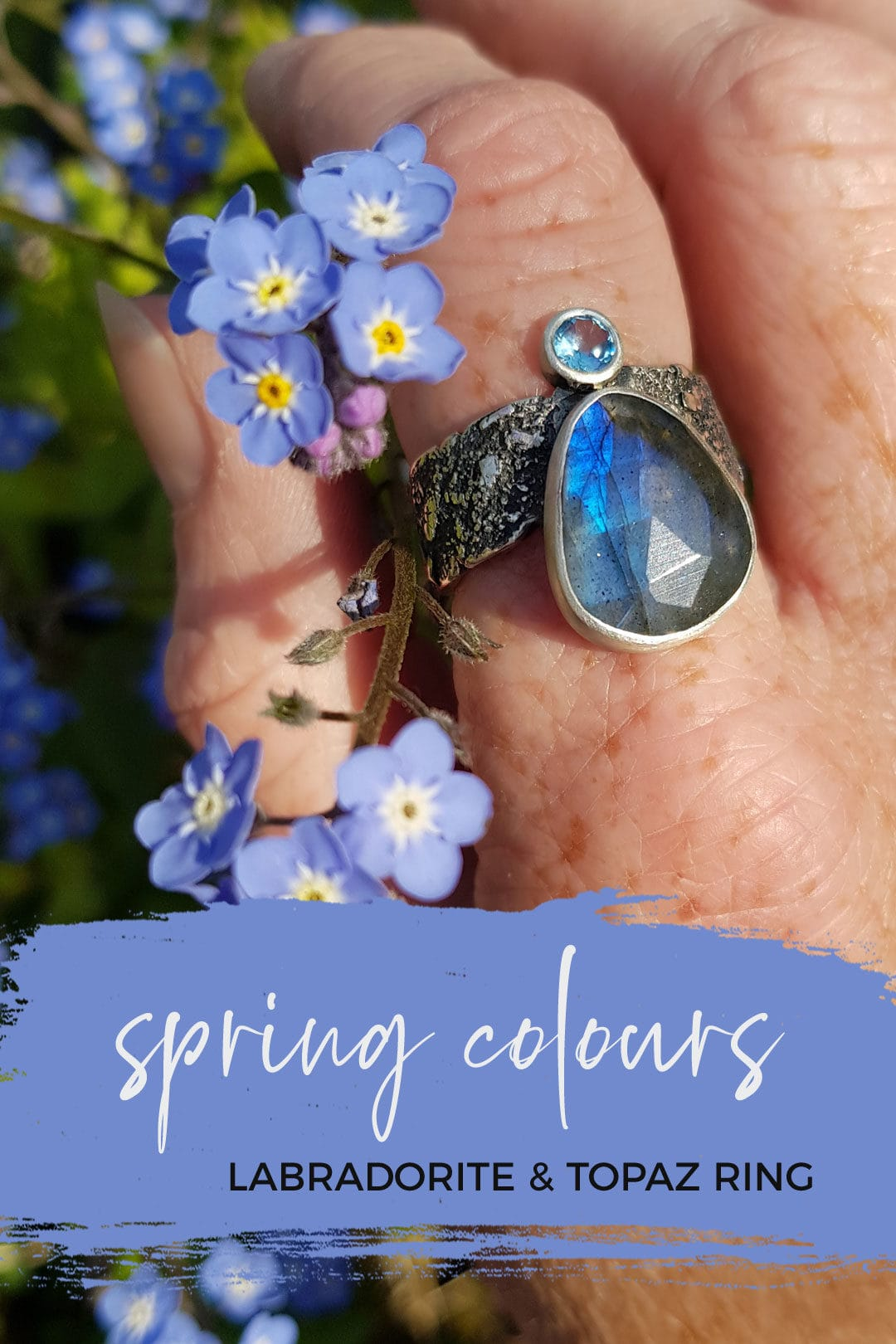 Labraodrite and topaz ring, colours of spring