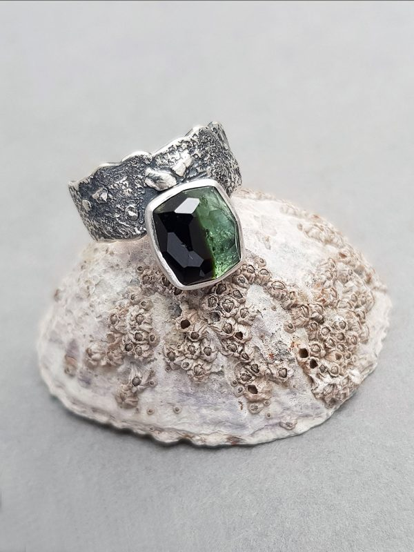 Shaded green tourmaline ring in textured sterling silver