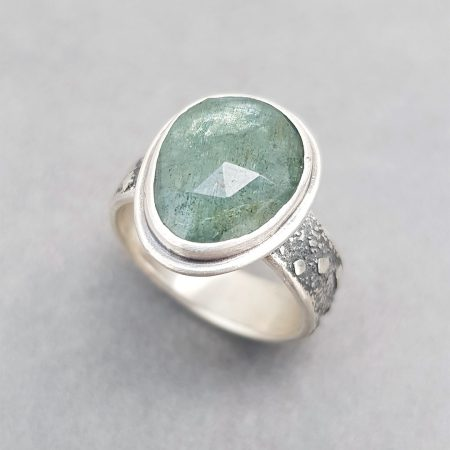 Moss aquamarine ring, handmade in textured sterling silver