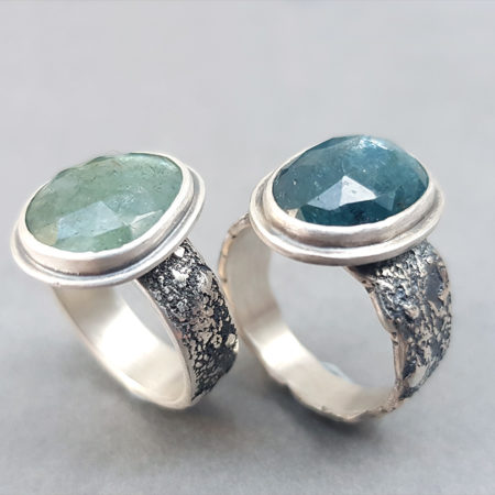 Moss aquamarine and Kyanite rings in textured sterling silver