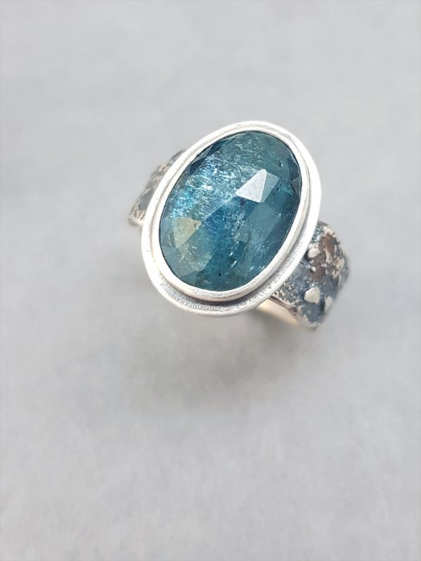 Teal blue Kyanite ring in sterling silver